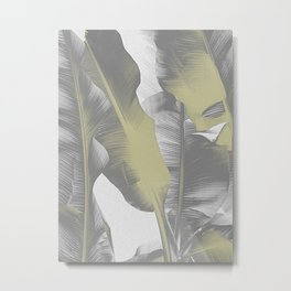 Gray and Gold I Banana Leaves Metal Print