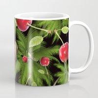 cherry Mugs featuring cherry by mark ashkenazi