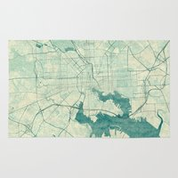baltimore Area & Throw Rugs featuring Baltimore Map Blue Vintage by City Art Posters
