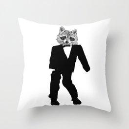 Twisted Raccoon Throw Pillow
