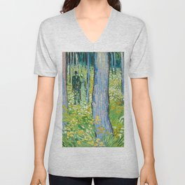 Undergrowth with Two Figures by Vincent van Gogh Unisex V-Neck