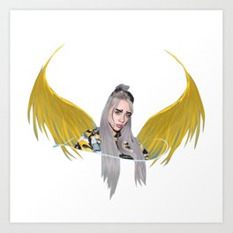 Billie Eilish Artwork With Wings Art Print