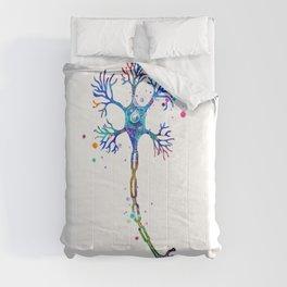 Motor Neuron Art Brain Cell Anatomy Art Colorful Blue Purple Watercolor Medical Science Art Comforters
