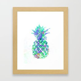 pineapple in green blue yellow with geometric triangle pattern abstract Framed Art Print