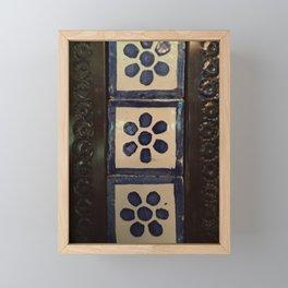 Flower tile and metal Framed Mini Art Print