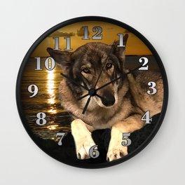Dog German Shepherd and Sunset Wall Clock