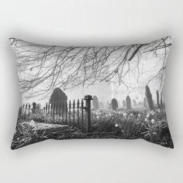 Rural church and graveyard in early morning fog. Hilborough, Norfolk, UK. Rectangular Pillow