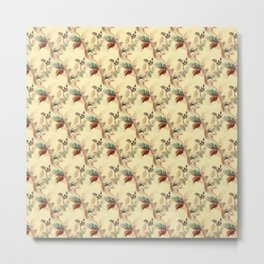 Antique Floral Pattern - Mint & Rust Colors on Beige / Yellow Metal Print