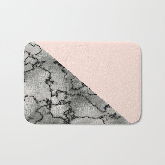 Peach and silver marble metallic Bath Mat