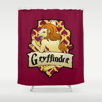 gryffindor Shower Curtains featuring Gryffindor Crest by AriesNamarie