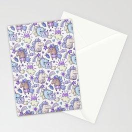 Modern hand painted purple violet magic unicorn illustration Stationery Cards