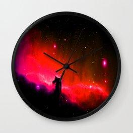Horsehead NebULa : Coral Red Pink Wall Clock
