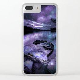 Magical Mountain Lake Purple Teal Clear iPhone Case