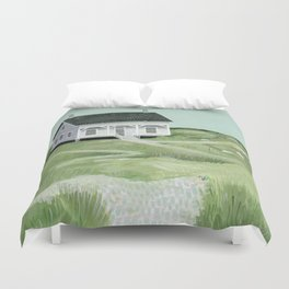 Cottage on the beach Duvet Cover