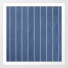Denim Blue with White Pinstripes Art Print