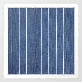 Denim Blue with White Pinstripes Art Print