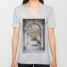 Former Train Station in Abkhazia Unisex V-Neck