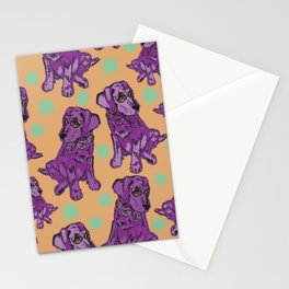 Purple pastel pop art puppies Stationery Cards