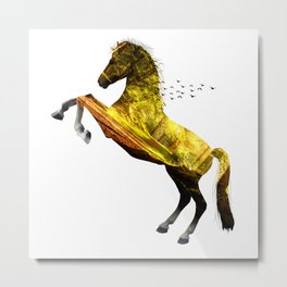 Horse in green forest Metal Print