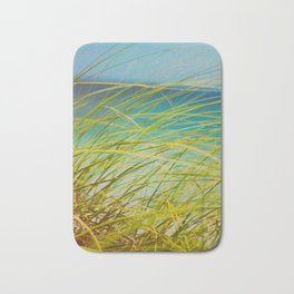 Seagrass By The Ocean Blue Waves Colorful Green To Blue Gradient Bath Mat