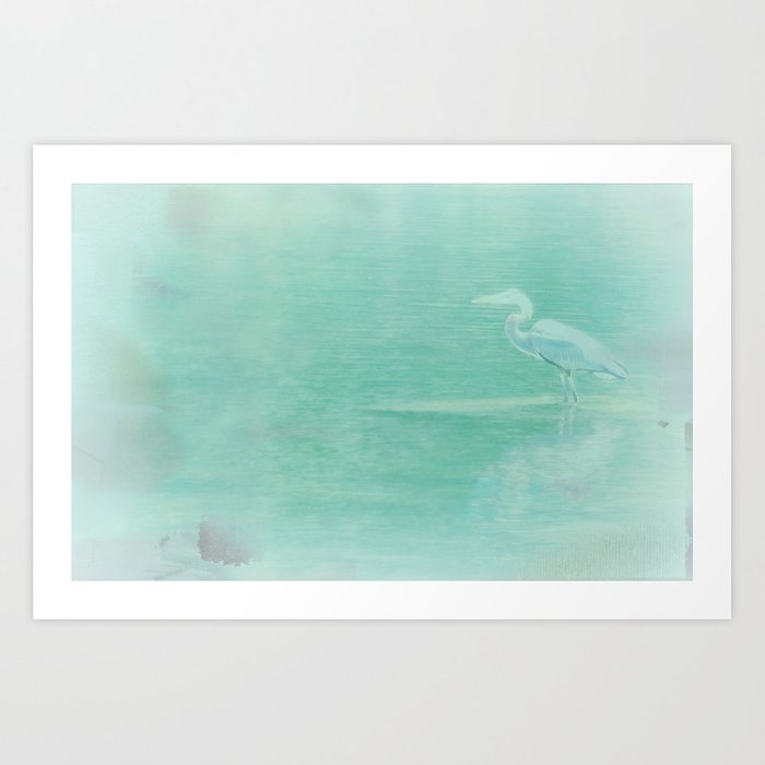 Blue Heron - collage Art Print