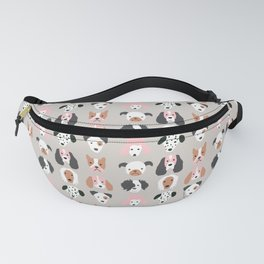 Cute Puppy Dogs on Gray Fanny Pack