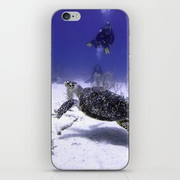 Divers Watching Hawksbill Turtle iPhone Skin