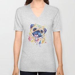 Fawn Pug Colorful Watercolor Pet Portrait Painting Unisex V-Neck