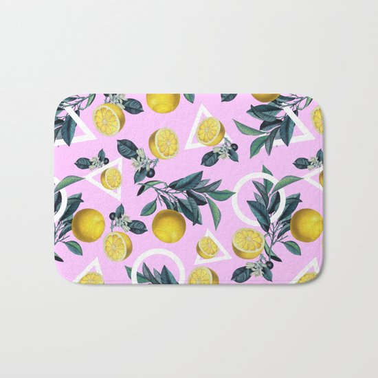 Geometric and Lemon pattern Bath Mat