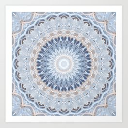 Serenity Mandala in Blue, Ivory and White on Textured Background Art Print