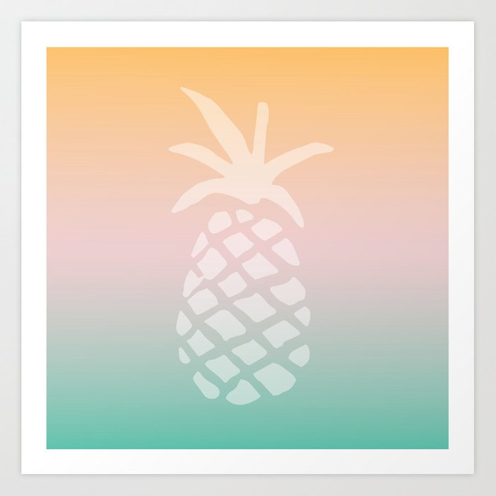 Ombre Pineapple - Tropical Pastel Kunstdrucke