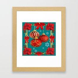 TEAL COLOR RED CHRISTMAS  ORNAMENTS &  POINSETTIAS FLOWER Framed Art Print