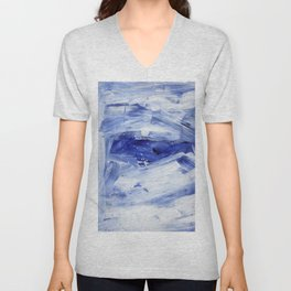 Blue Ocean Torrent Colorful Abstract Painting by Ejaaz Haniff Unisex V-Neck