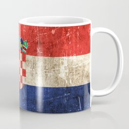 Vintage Aged and Scratched Croatian Flag Coffee Mug
