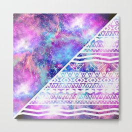 Girly Purple Pink Nebula Space White Tribal Aztec Metal Print