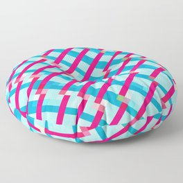 geometric pixel square pattern abstract background in blue pink Floor Pillow