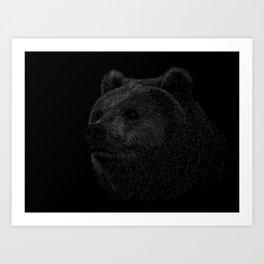 Grizzly Line art Art Print