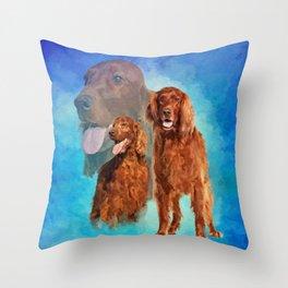 Irish Setter Dogs collage Throw Pillow