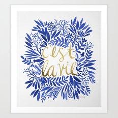 That's Life – Gold & Blue Art Print