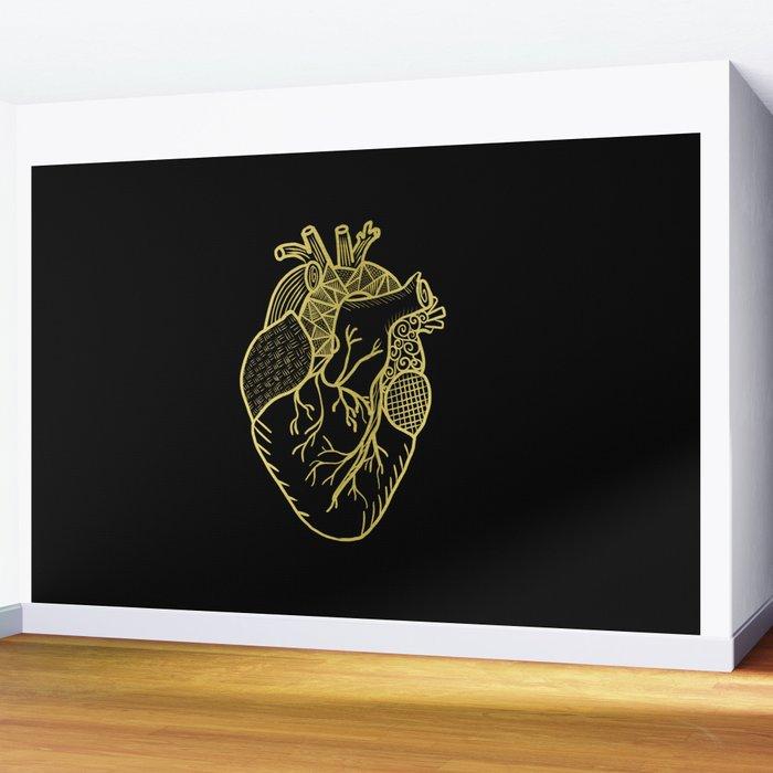 Designer Heart Gold Wall Mural