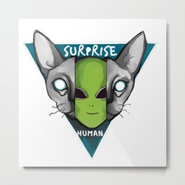 Cats are aliens ufo surprise human Metal Print
