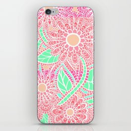 Zen Flowers Doodle Design - Pink Coral iPhone Skin