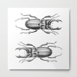 Vintage Beetle black and white Metal Print