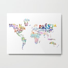 world map watercolor typography 1 Metal Print