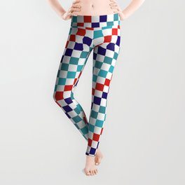 Gridded Red Tale Blue Pattern Leggings