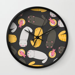 Cats dinner time Wall Clock