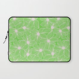 02 White Flowers on Green Laptop Sleeve