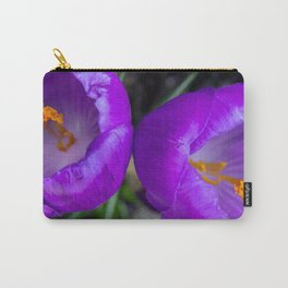 Deep purple and orange crocuses Carry-All Pouch