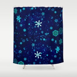 Blue Snowflakes Pattern Shower Curtain
