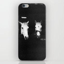 Two White Horses of Ireland in Black and White - Holga Photography iPhone Skin